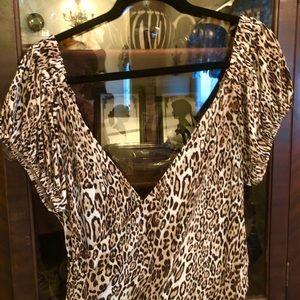 Leopard Print V-Neck & Back Dress